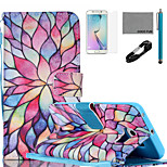 COCO FUN® Colorful Petal Pattern PU Leather Case with V8 USB Cable, Flim, Stylus and Stand for Samsung Galaxy S6 edge