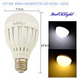 1 stuks YouOKLight E26/E27 9 W 18 SMD 5730 800 LM Warm wit / Koel wit B Decoratief Bollampen AC 85-265 V