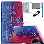 coco fun® parole d'oro modello pu custodia in pelle con il cavo usb v8, del cinema e dello stilo per bordo Samsung Galaxy S6 più