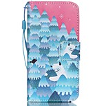 HZBYC®Forest Snowman Pattern PU Material Card Lanyard Case for iPhone 5C