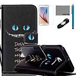 Coco Fun® patrón de los ojos azules del gato caja de cuero de la PU con el cable usb v8, flim, lápiz óptico y soporte para la galaxia s6