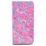 rosa patrón de flor mandala de la PU del soporte del cuero cubierta de la caja con ranura para tarjeta para el iphone 6 más / 6s más 5,5
