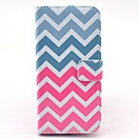 Pink and White Wave Pattern PU Leather Stand Case Cover with Card Slot for iPhone 6/6S 4.7 Inch