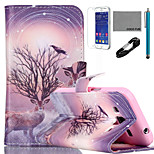 COCO FUN® Branch Antelope  Pattern PU Leather Case with V8 USB Cable, Flim and Stylus for Samsung Galaxy Core Prime G360