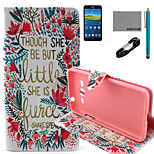 COCO FUN® Little Flower Pattern PU Leather Case with V8 USB Cable, Flim and Stylus for Samsung Galaxy Grand Prime G530