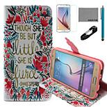 coco Fun® kleinen Blumenmuster PU-Lederetui mit V8-USB-Kabel, Film und Stylus für Samsung-Galaxie s6