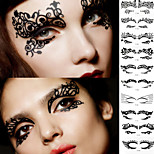 2Pcs Foreign Trade Fashion Eye Makeup Art Creative Paper-Cut Post Lace Line Hollow Out 12 Eye Shadow To Cheek