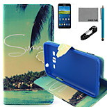 COCO FUN® Summer Coconut Pattern PU Leather Case with V8 USB Cable, Flim and Stylus for Samsung Galaxy Grand Prime G530