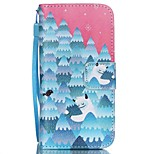HZBYC®Forest Snowman Pattern PU Material Card Lanyard Case for iPhone 5/5S