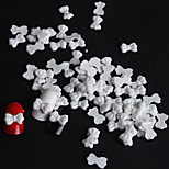 50 / Bag Of White Resin Bow Manicure Resin Accessories(1Set=50)