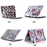Pattern PU Leather Case+Matt Bottom Cover Shell for Macbook 15