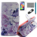 COCO FUN® Beautiful Pattern PU Leather Case with V8 USB Cable, Flim, Stylus and Stand for Samsung Galaxy S5 I9600