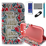 COCO FUN® Little Flower Pattern PU Leather Case with V8 USB Cable, Flim and Stylus for Samsung Galaxy Core Prime G360