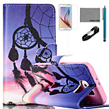 COCO FUN® Sunset Wind-Bell Pattern PU Leather Case with V8 USB Cable, Film and Stylus for Samsung Galaxy S6