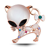 Super Adorable Kitten Opal Plated Brooch