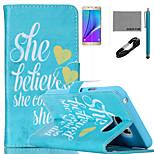 Coco fun® ela acreditar que ela poderia padrão de capa de couro pu com cabo usb v8, flim e stylus para Samsung Galaxy nota 5