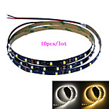 Jiawen 10pcs / lot 100cm 4W 60x3528smd wit / warm wit licht led strip lamp voor in de auto en het kabinet (DC 12V)