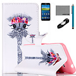 COCO FUN® Garland Giraffe Pattern PU Leather Case with V8 USB Cable Flim and Stylus for Samsung Galaxy Grand Prime G530