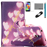 COCO FUN® Shiny Heart Pattern PU Leather Case with V8 USB Cable, Flim, Stylus and Stand for Samsung Galaxy S5 I9600