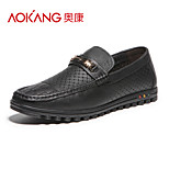 Aokang Men's Leather Loafers Black