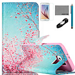 COCO FUN® Sky Red Floral Pattern PU Leather Case with V8 USB Cable, Film and Stylus for Samsung Galaxy S6