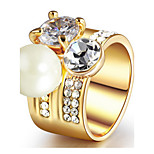 Real gold plating crystal ring
