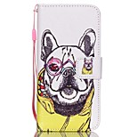 The New Glasses Dog Petals Pattern PU Leather Material Flip Card Cell Phone Case for iPhone 6 /6S
