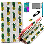 COCO FUN® White Pineapple Pattern PU Leather Case with V8 USB Cable, Flim and Stylus for Samsung Galaxy A3