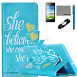 COCO FUN® She Believe She  Pattern PU Leather Case with V8 USB Cable, Flim and Stylus for Samsung Galaxy A5