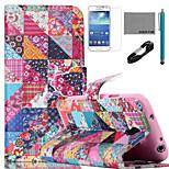 coco fun® bloem controleert patroon pu lederen tas met v8 usb-kabel, flim en stylus voor Samsung Galaxy S4 mini i9190