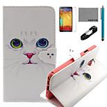 coco Fun® weiße Katze Muster PU-Lederetui mit V8-USB-Kabel, FLIM und Stylus für Samsung Galaxy Note 3