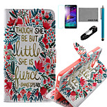 COCO FUN® Little Flower Pattern PU Leather Case with V8 USB Cable, Flim and Stylus for Samsung Galaxy Note 4