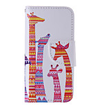 The New Giraffe PU Leather Material Flip Card Cell Phone Case for iPhone 5 /5S