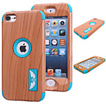 Special Design Novelty Wood Grain Silicone PC Back Case for iPhone 5/5S(Assorted Colors)