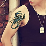 Blue Scorpion Waterproof Flower Arm Temporary Tattoos Stickers Non Toxic Glitter