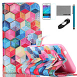COCO FUN® Colorful Diamondcheck Pattern PU Leather Case with V8 USB Cable, Film and Stylus for Samsung Galaxy J1