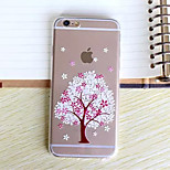 padrão de flor de cereja árvore ultrafino TPU transparente caso tampa traseira macia para iphone 6s / 6
