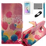 COCO FUN® Colorful Balloon Pattern PU Leather Case with V8 USB Cable, Flim, Stylus and Stand for Samsung Galaxy S6 edge
