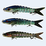 3pcs/lot 3 Color Mixed 8 Sections Fishing Lure 14cm/5