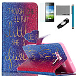 COCO FUN® Golden Words Pattern PU Leather Case with V8 USB Cable, Flim and Stylus for Samsung Galaxy A5