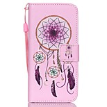 HZBYC®Pink Campanula Pattern PU Material Card Lanyard Case for iPhone 6/6S