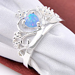 Amazing Holiday Gift Fire Round Fire Blue Opal Gem 925 Silver Statement Crown Rings For Wedding Party Daily 1pc