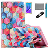 COCO FUN® Colorful Diamondcheck Pattern PU Leather Case with V8 USB Cable, Flim and Stylus for Samsung Galaxy Note 5