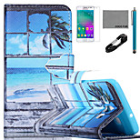 COCO FUN® Seascape in Window Pattern PU Leather Case with V8 USB Cable, Flim and Stylus for Samsung Galaxy A3