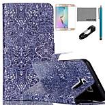 coco Fun® Retro-Muster Muster PU-Lederetui mit V8-USB-Kabel, Film und Stylus für Samsung-Galaxie s6 Kante sowie