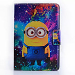 Small Yellow Person Subtitles Pattern PU Material Flip Bracket Protective Case for iPad  Mini 1/2/3