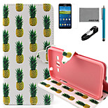 COCO FUN® White Pineapple Pattern PU Leather Case with V8 USB Cable, Flim and Stylus for Samsung Galaxy Grand Prime G530