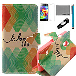 COCO FUN® Green Diamond Pattern PU Leather Case with V8 USB Cable, Flim and Stylus for Samsung Galaxy S5 MINI