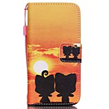 The New Sunset Pattern Lanyard PU Leather Material Flip Card Cell Phone Case for iPhone 5 /5S