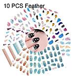 10PCS Feather Series Mixed Water Transfer Nail Printing Nail Stickers